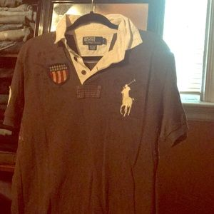 Brown and white polo